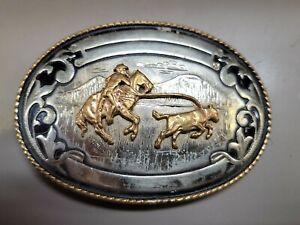 Vintage Western Rodeo Belt Buckle  Silversmiths German Silver