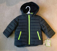 NWT Carters Winter Coat Puffer Jacket GRAY YELLOW Hooded...