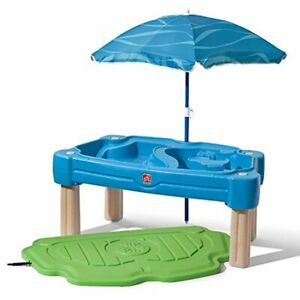 Step2 Cascading Cove Sand & Water Table with Umbrella Lid for Kids Water Play