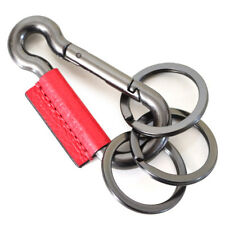 Coach Carabiner True Red Leather/Black Antique Nickel 3 Ring Key Chain F64769