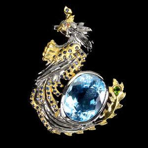 Handmade 17ct Sky Blue Topaz Blue Sapphire 925silver Peacock Brooch Special Item