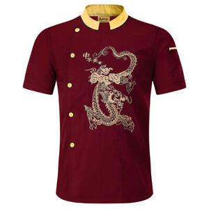 Chef Uniform Coat Short Sleeve Chef Jacket Dragon Printed Chef Shirts Hotel Use
