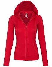 Women's Solid Casual Basic Zip Up Hoodie Long Sleeves Jackets S,M,L