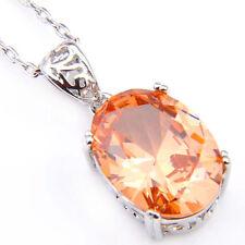 Huge Dazzaling Oval Cut Champange Topaz Gemstone Silver Necklace Pendant