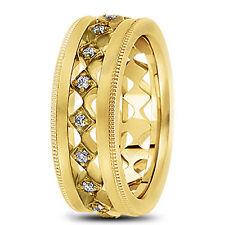 New Ladies 14k Yellow Gold Diamond Diagonal Wedding Band Ring 7mm Size 7