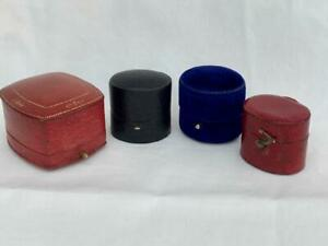 Four Antique Fitted Ring Presentation Boxes.