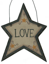LOVE  Primitive Carved look Star Country inspirational home decor sign
