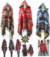 Boho Southwest Aztec Soft Wool Women Warm Poncho Shawl Wrap Hooded NEW USA