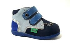 New $80 KICKERS Babyscratch Boys Boots Shoes LEATHER Blue Size 3,5 USA/19 EURO