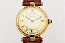 Cartier Ladies Must de Vermeil Solid Silver/ Gold Plated Watch on Leather