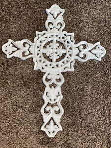 """Vintage Cast Iron Cross Wall Hanging Decor 17"""" Painted White Floral Ornate"""