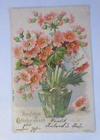 Geburtstag, Blumen,  1903, Golddruck ♥