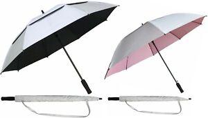 "Set of 2 Silver-Coated Windbuster Golf Umbrellas 60""arc & 50""arc-RainStoppers UV"