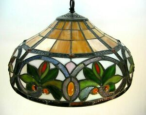 """Beautiful Leaded Stained Glass Hanging Light 16"""" Round Shade - Lotus Flower?"""