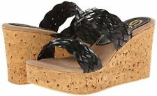 SBICCA Manaus Wedge Sandals Black Braided Straps Women's Sz 10 $70
