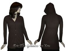 T82 BROWN HODDIE HINKLY TUNIC TOP  SHIRT WOMENS  SIZE ~ M