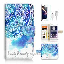 ( For Oppo F1 ) Wallet Case Cover P2458 Aztec Flower