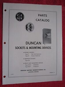 1953 DUNCAN WATTHOUR METER SOCKETS & MOUNTING DEVICES PARTS CATALOG