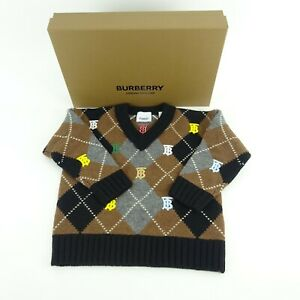 Burberry Children Brown Monogram Argyle V Neck Knitted Sweater Size 4Y NWT NIB