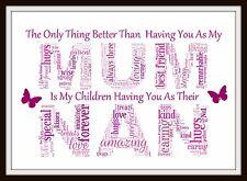 Personalised Mum Day Mom NANNY NAN NAIN NANA NANNA gift Birthday Word art print