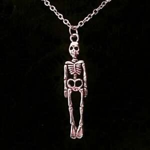 Mini Skeleton Pewter effect Necklace Skull Gothic Horror Occult Bones Halloween