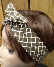 Classy Brown Print Wire Headband Rockabilly Made in the USA  Wired Dolly Bow