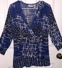 Chico's Travelers Blue & White Slinky Ribbed Geometric Blouse Shirt Chicos 2