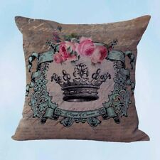 US Seller- cheap pillow covers shabby chic crown rose cushion cover