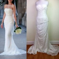 Vera Wang Wedding Dress 12 Ivory Strapless Lace Draped Column Gown VW351044 $728