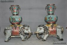 Other Chinese Antiques Good China Fengshui Silver Auspicious Eight Treasure Elephant Zun Pot Jar Bottle Vase