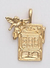 Gold Slot Machine Pendant with Angel 24k yellow Gold plated Good Luck Charm