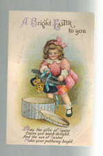 1921 USA postcard Cover Ellen Clapsaddle Easter Little Girl with Hat and Box