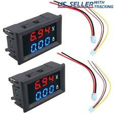 2pcs DC 100V 10A Voltmeter Ammeter LED Dual Volt Amp Meter Voltage Current Gauge