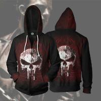 Marvel Punisher 3D Full Print Zip Hoodie Sweatshirt Men's Cosplay Jacket Coat