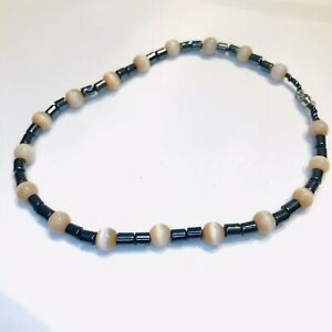 "Hematite & Ivory Color Beads 10"" Long Anklet Bracelet"