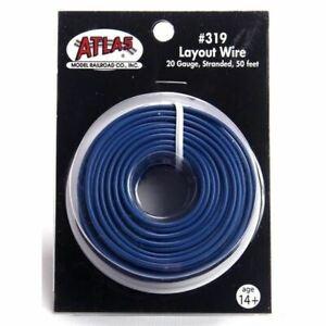 Atlas 319 50' of 20 Gauge Stranded Layout Wire, Blue