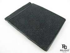 PELGIO Real Genuine Stingray Skin Leather Money Clip Slim Fold Wallet All Black