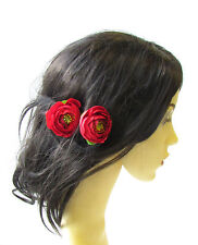 2 x Red Ranunculus Flower Hair Pins Vintage Rockabilly Clip Bridal Rose Bud 1482