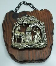 Wood Wall Hanging Art Made in West Germany Plastic Diecast on Wooden Plaque