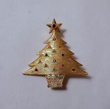 Signed Denicola MCM Modernist Gold Tone Christmas Tree Rhinestone Brooch Pin