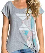 Roxy T-Shirt Cabria grau mit Druck und zum Verknoten Damen NEU