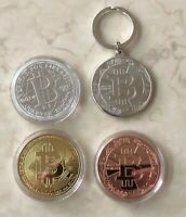 4 Pack Crypto Bitcoin Coins & Keychain Commemorative Pack Gold Silver Bit Coin