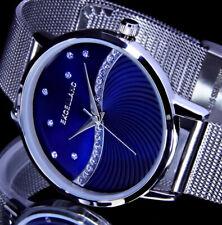Excellanc Damen Armband Frauen Quarz Uhr Blau Silber Farben Strass L44