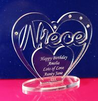 Personalised Heart for Niece with message for Birthday, Christmas Gift/Ornament