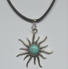 Sun Turquoise Pendant Charm Black Leather Necklace Tibetan Silver Handmade Gift