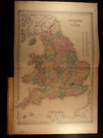 1855 1st COLTON Atlas Color Map ENGLAND Wales Great Britain London HUGE 28x35in