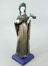 Große ENS Jugendstil Figur, Mädchen mit Vogel und Laute, um 1910, Höhe 47cm