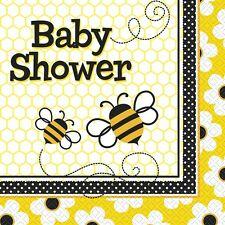 16 Busy Buzzy Bees Baby Shower Party 33cm Disposable Paper Napkins