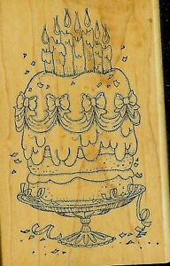 ART IMPRESSIONS Rubber Stamp ELEGANT BIRTHDAY CAKE CANDLES RIBBON BOWS on STAND