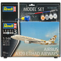 Revell Airbus A320 Etihad Airways with Paints, Brush & Adhesive Scale 1:144 NEW